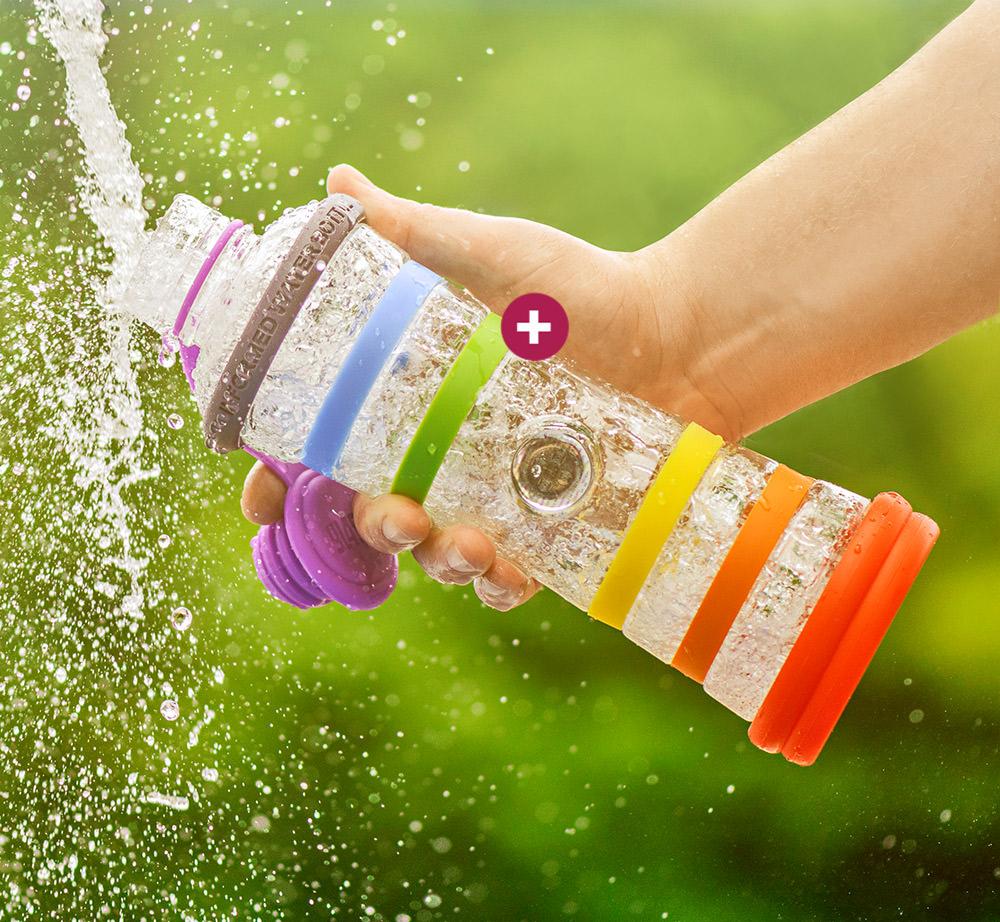 Produkt: Chakra-Wasserflasche mit farbigen Ringen