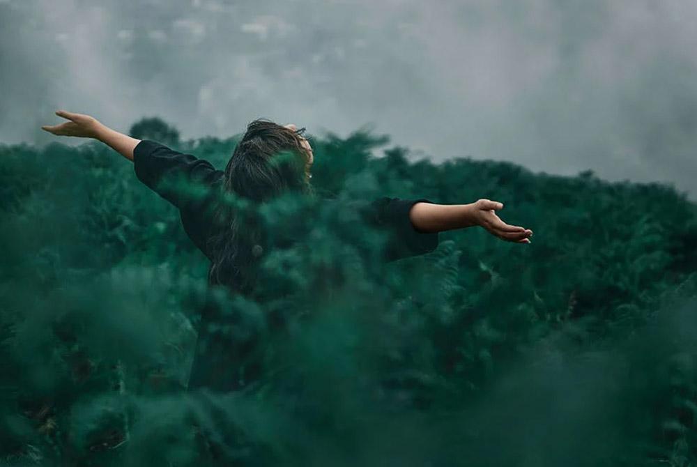 Eine Person steht mit dem Rücken zur Kamera mit ausgebreiteten Armen in einem Feld und blickt zum Himmel