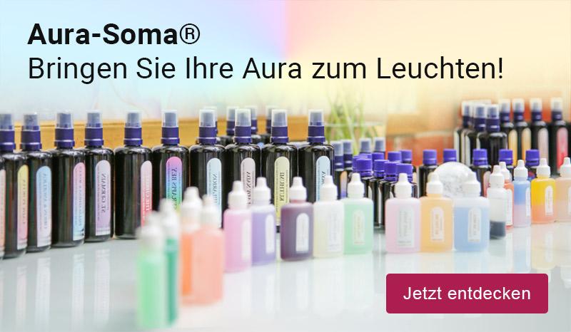 Aura-Soma-Produkte; Text: Aura-Soma®. Bringen Sie Ihre Aura zum Leuchten!