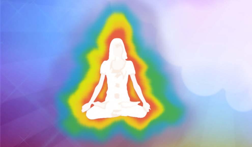Grafische Darstellung einer Aura in Regenbogenfarben